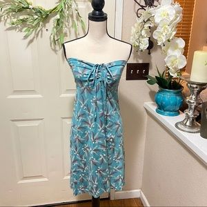 Patagonia Sky Blue Feather Detail Halter Dress